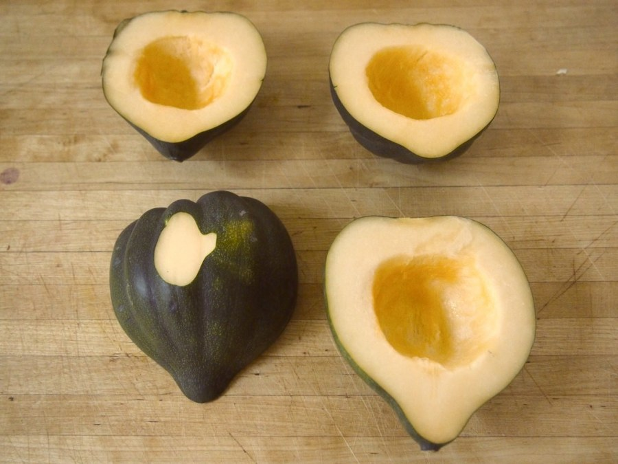 acorn squash, cut in half vertically and seeds removed 1 clove garlic ...